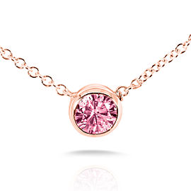 "BCA Pink Sapphire Solitaire Bezel Necklace in 14K Rose Gold (16"" Chain)"