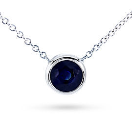 "Dark Blue Sapphire Bezel Solitaire Pendant 3/5 Carat in 14K White Gold (16"" Chain)"