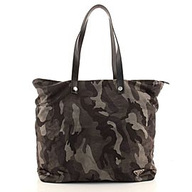 Prada Camouflage Zip Tote Tessuto Large