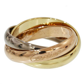Cartier 18K Yellow White and Rose Gold De Trinity 3 Bands Ring Size 5.25
