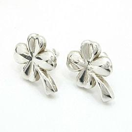 CHANEL Silver Clover Four-Leaf Motif Stud Earrings