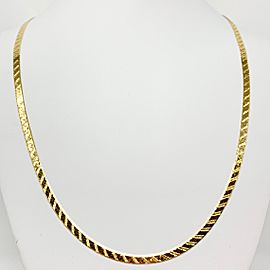 14k Yellow Gold Etched Herringbone Link Chain Necklace