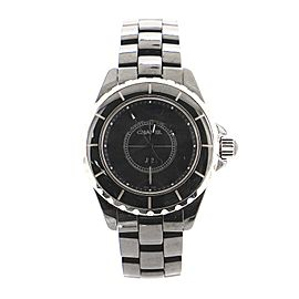 Chanel J12 Intense Black Quartz Watch Ceramic and Stainless Steel 33
