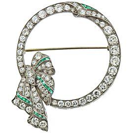 Art Deco Platinum Diamond Emerald Bow Brooch Pin