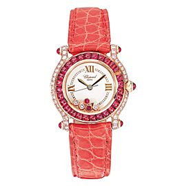 Chopard Happy Sport Ladies Pink Diamond Ruby Set Watch with Box