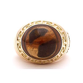 Versace 18K Yellow Gold Citrine Ring Size 6.5