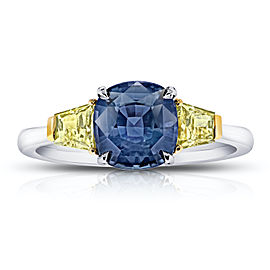 Platinum 18K Yellow Gold 2.44ctw. Sapphire 0.71ctw. Diamond Ring Size 7