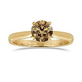 Leibish 18K Rose Gold Fancy Dark Orange Brown Solitaire Diamond Engagement Ring Size 7.25