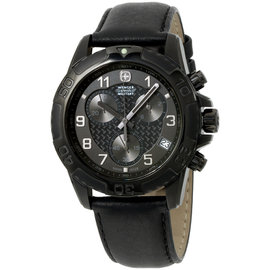 Wenger 79265 Swiss Army Military Stainless Steel Black Dial Black Leather Strap 43mm Mens Watch