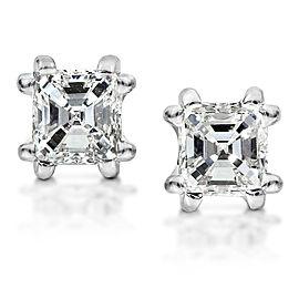 Diamond Stud Earrings 1 1/4 Carat Asscher in 14K White Gold