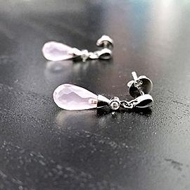 Pear Briolette Rose Quartz Droplet Earrings Diamond Bezel Accent in 14k White Gold