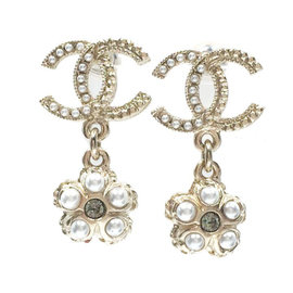Chanel Gold CC Stimulated Glass Pearl Flower Dangle Piercing Earrings