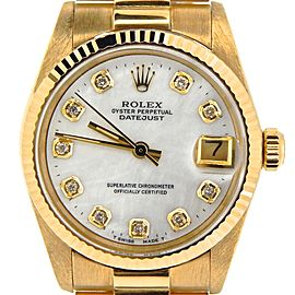 Pre Owned Mid-Size Rolex Yellow Gold Datejust President MOP Diamond 6827