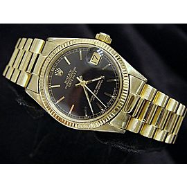 Mid Size Rolex 18K Yellow Gold Datejust President Black 6827