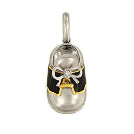 Aaron Basha 18K White Gold with 0.01ctw Diamond Black Saddle Shoe Bow Charm Pendant
