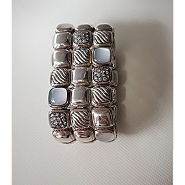 David Yurman Chiclet Three Row Bracelet With Moon Quartz and Diamonds