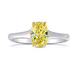 Leibish 18K White and Yellow Gold Fancy Intense Yellow Solitaire Diamond Ring Size 7.25