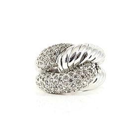 David Yurman Sterling Silver .69tcw 14mm Pave Diamond Infinity Knot Ring