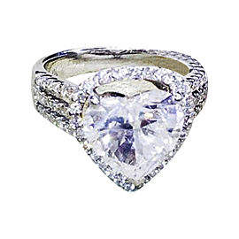 14K White Gold & 3.69ct Heart Shaped Diamond Ring Size 5.25
