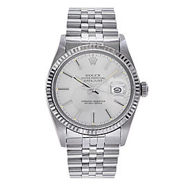 Rolex Datejust 16220 Stainless Steel & 18K White Gold Silver Dial Automatic 36mm Mens Watch