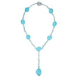 18K White Gold Diamond Turquoise & Emerald Necklace