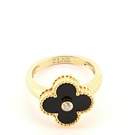 Van Cleef & Arpels Vintage Alhambra Ring 18K Yellow Gold and Onyx with Diamond