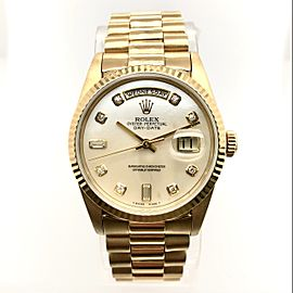 ROLEX PRESIDENT DAY-DATE English Day 18K YG Watch FACTORY MOP Diamond Dial