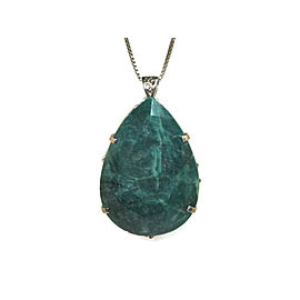 Sterling Silver with 569.22ct. Emerald Pendant