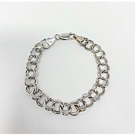 14k White Gold Double Circle Link Charm Bracelet