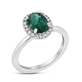14k White Gold 1.42ct. Diamond & Emerald Halo Ring Size 5.25