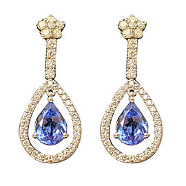 14K White Gold 9.0ctw Tanzanite and 2.75ctw Diamond Earrings