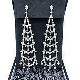 Estate 18K White Gold Diamond Hanging Earrings