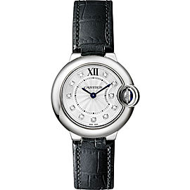 Cartier Ballon Bleu W4BB0008 Stainless Steel & Black Alligator Leather with Silver Diamond Dial 28mm Womens Watch