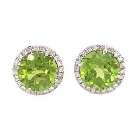 18k White Gold Peridot and Diamond Button Stud Earrings