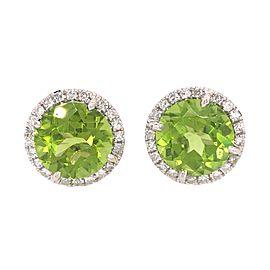 18k White Gold Peridot and Diamond Button Stud Earrings