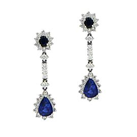18K White Gold Blue Sapphire with Diamond Halo Drop Dangle Earrings