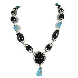 Stephen Dweck Sterling Silver Turquoise Onyx Inlay Multi Stone Toggle Necklace
