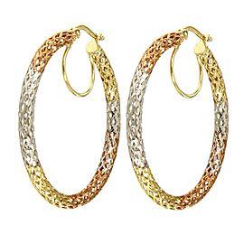 14K Yellow White and Rose Gold Mesh Hoop Earrings