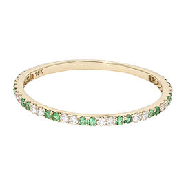 18K Yellow Gold with 0.12ct. Diamond and 0.10ct. Emerald Band Ring Size 8