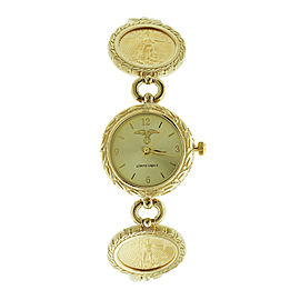 14k Yellow Gold Liberty Legacy American Eagle Coin With Wheat Bezel Bracelet Watch
