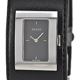 GUCCI 7800L YA078506 black Dial SS/Laether Quartz Ladies Watch