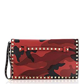Valentino Rockstud Flap Clutch Camo Leather and Canvas