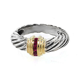 David Yurman Gold & Sterling Ruby Cable Dome Ring