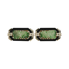18K Yellow Gold with Imperial Jade, Onyx Border & Diamond Earrings