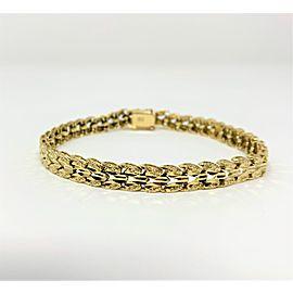 14K Yellow Gold Chevron Style Diamond Cut Chain Link Bracelet