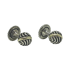 David Yurman Sterling Silver and 14K Yellow Gold Cufflinks