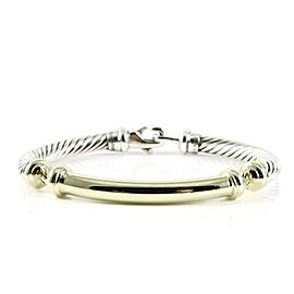 David Yurman Sterling Silver 14K Yellow Gold 5mm Gold Bar Metro Bracelet