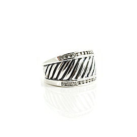 David Yurman Sterling Silver .50tcw Diamond Cigar Band Ring
