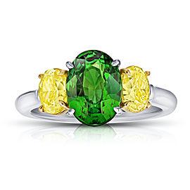 Platinum 18K Yellow Gold 3.02ctw. Tsavorite 1.58ctw. Diamond Ring Size 7