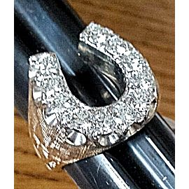14K Yellow & White Gold Diamond Lucky Horseshoe Ring Size 10.5